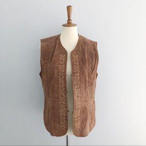 Vintage Leather Embroidered Vest Size Large